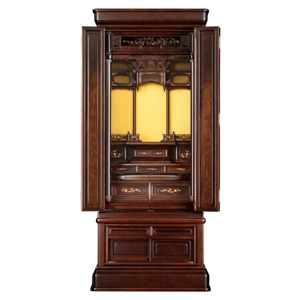 岸佛光堂オリジナル仏壇「山茶花」無垢使用 板扉一枚型 ー 正面