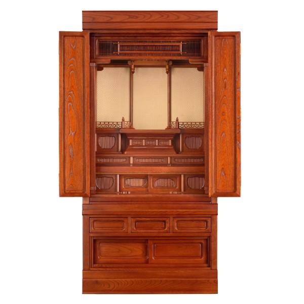 岸佛光堂オリジナル仏壇「仏光」仕込壇 板扉型 欅 ー 正面